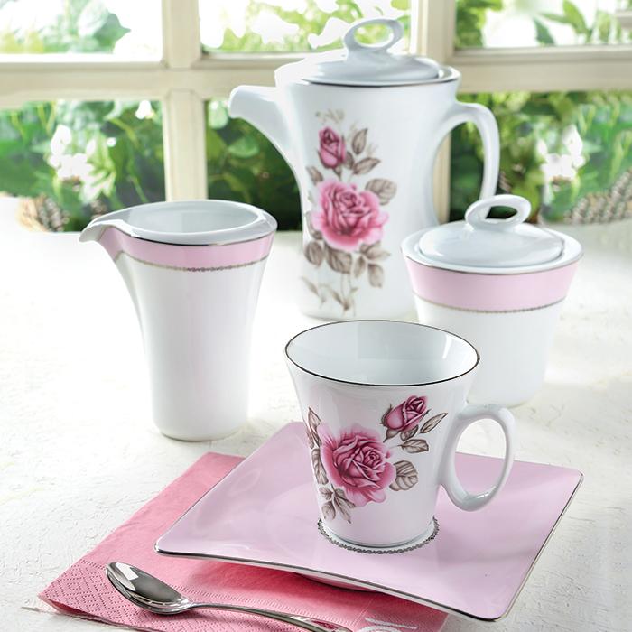 سرویس چینی 12 پارچه چای خوری رزفلاور پلاتینی