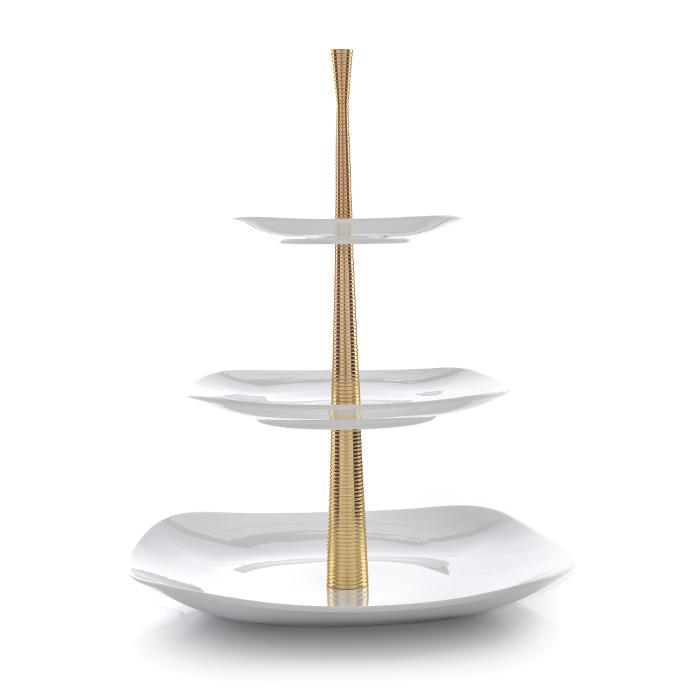 ظرف پذیرایی سه طبقه سفید با پایه طلایی شیاردار