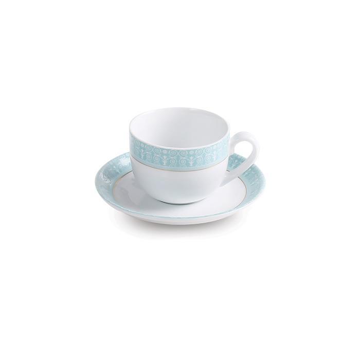 سرویس چینی 12 پارچه چای خوری سپید صدف فیروزه ای