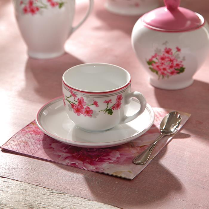 سرویس چینی 12 پارچه چای خوری یاس صورتی