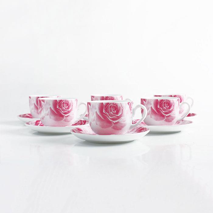 سرویس چینی 12 پارچه چایخوری رزتا صورتی