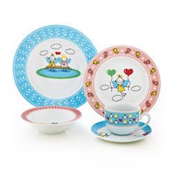 سرویس چینی 5 پارچه کودک پریا آبی و صورتی