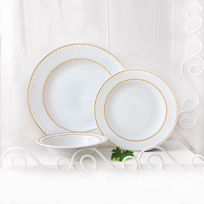 سرویس چینی 28 پارچه غذاخوری میلانو سفید