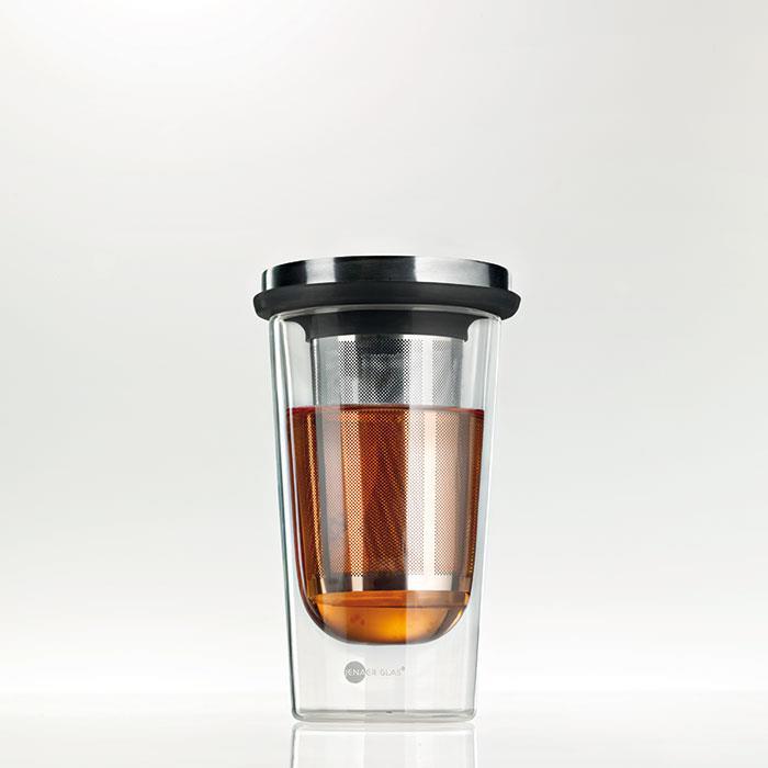 لیوان با چای صاف کن پریمو ینرگلس 355 ساده