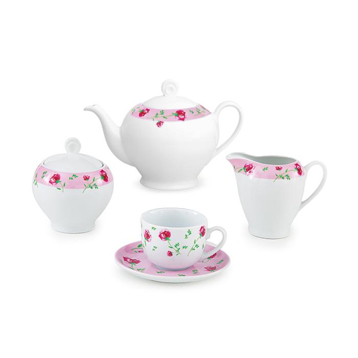 سرویس چینی 17 پارچه چای خوری پینک رز