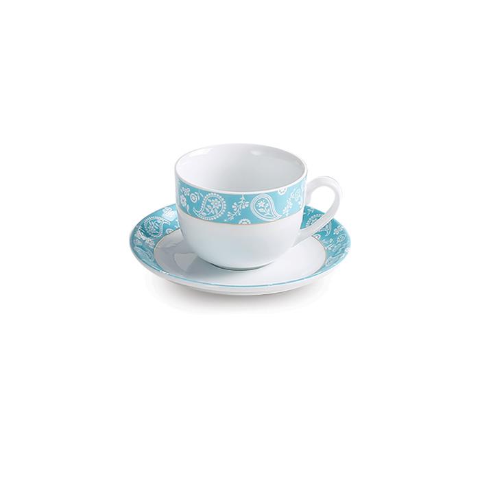 سرویس چینی 12 پارچه چای خوری سروین فیروزه ای