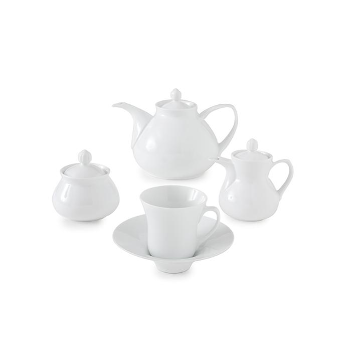 سرویس چینی 18 پارچه چای خوری سفید